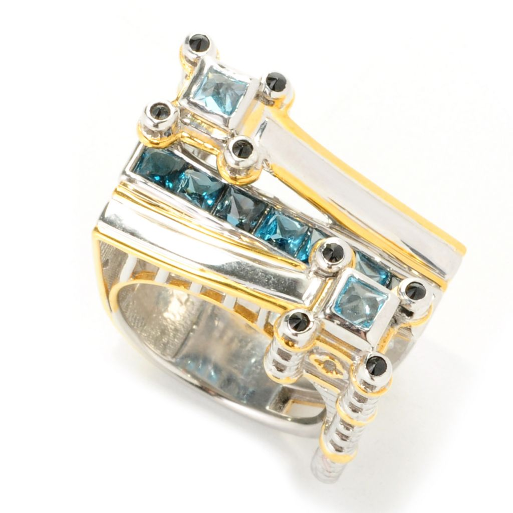 "138-247 - Gems en Vogue II 1.96ctw London Blue Topaz & Multi Gem ""London Bridge"" Ring"