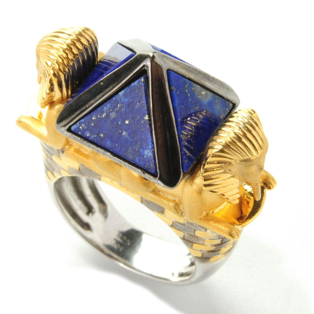 "138-249 - Gems en Vogue 9mm Lapis Lazuli ""Pyramid of Khafre & the Great Sphinx"" Ring"