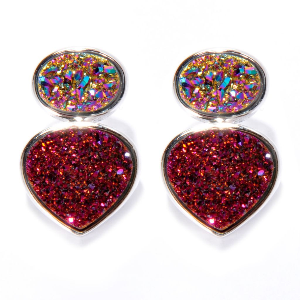 138-251 - Gem Insider Sterling Silver 11 x 10mm Purple & Rainbow Drusy Drop Earrings