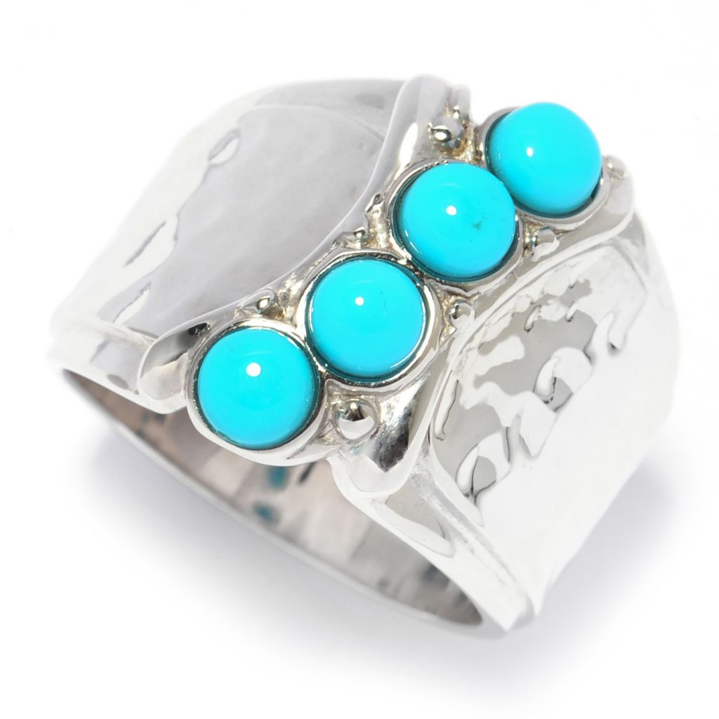138-253 - Gem Insider Sterling Silver Sleeping Beauty Turquoise Hammered Wide Band Ring