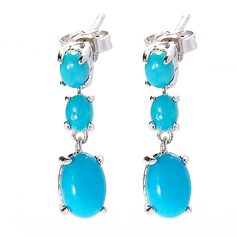 138-254 - Gem Insider Sterling Silver Sleeping Beauty Turquoise Tri-Drop Earrings