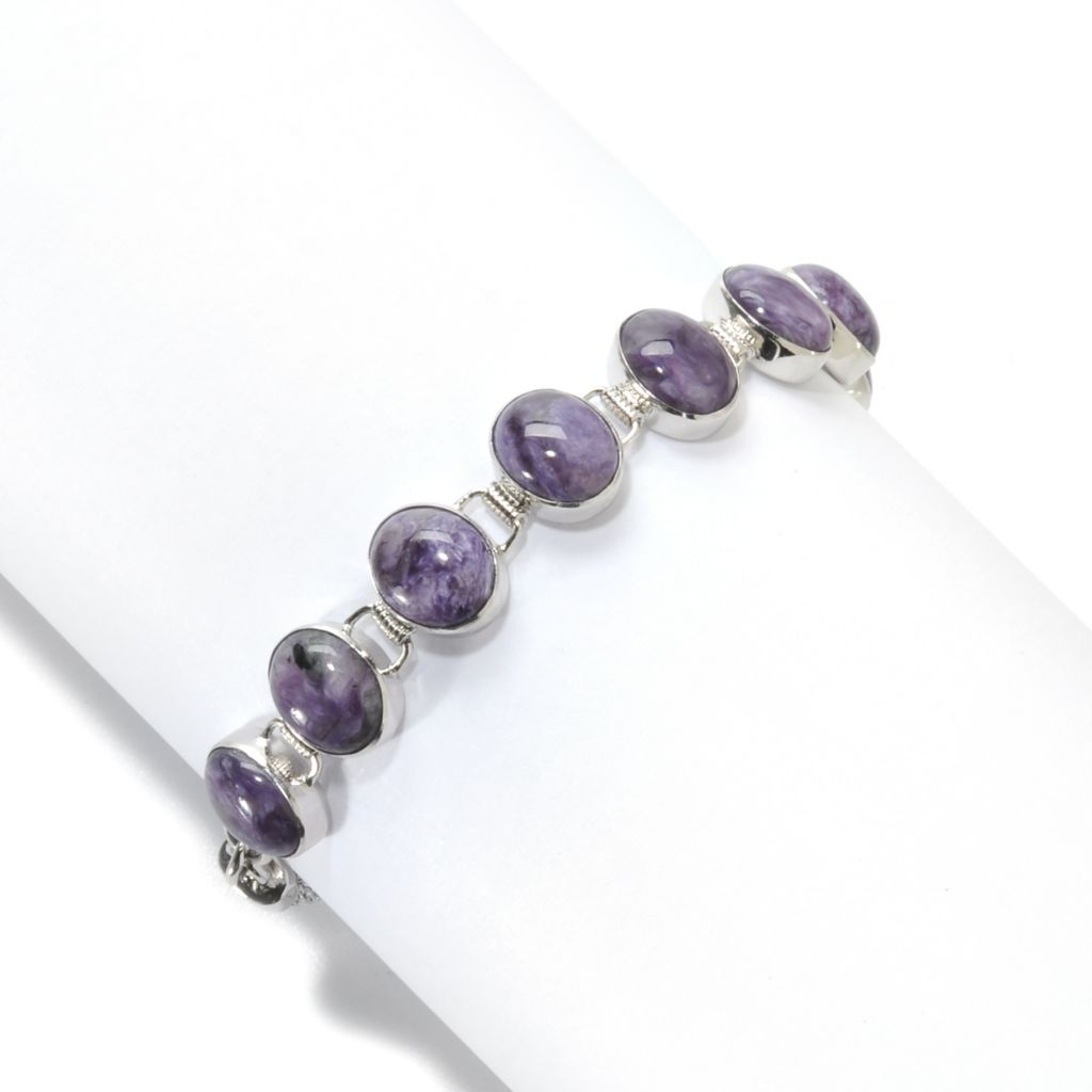 138-255 - Gem Insider Sterling Silver 10 x 8mm Oval Charoite Link Toggle Bracelet