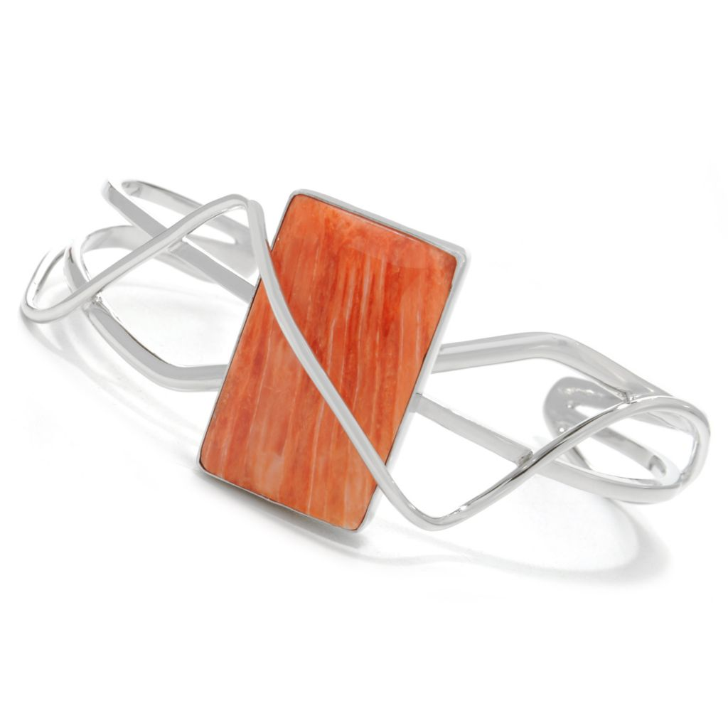 "138-256 - Gem Insider Sterling Silver 7"" 27 x 16mm Orange Spiny Oyster Cuff Bracelet"