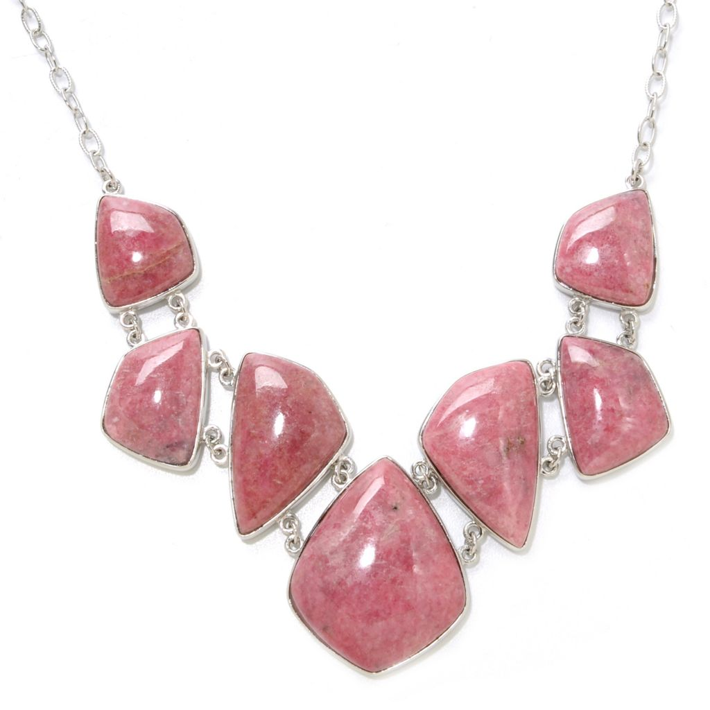 "138-257 - Gem Insider Sterling Silver 18"" Freeform Rhodonite Necklace w/ 2.5"" Extender"