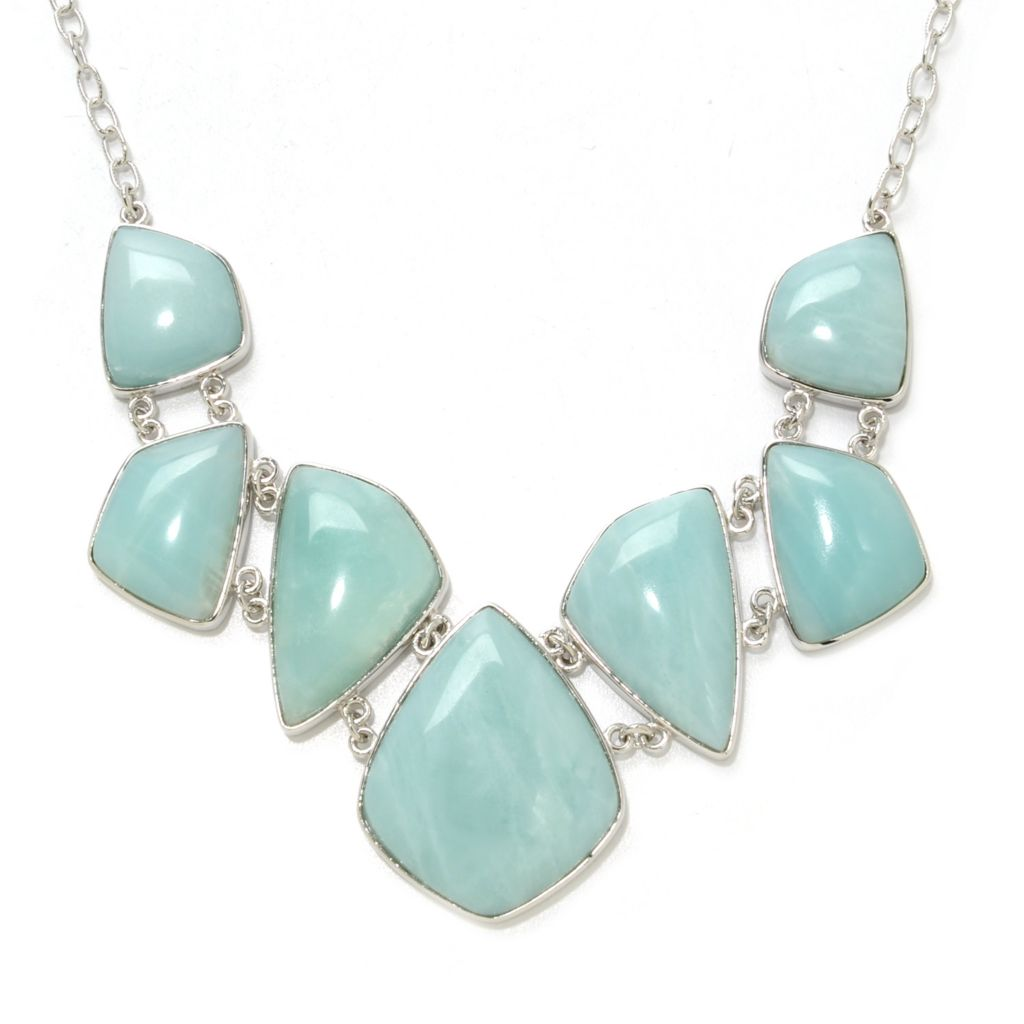 "138-258 - Gem Insider Sterling Silver 18"" Freeform Amazonite Necklace w/ 2.5"" Extender"
