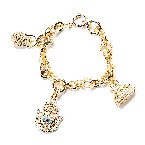 138-259 - Jaipur Jewelry Bazaar™ 18K Gold Embraced™ Textured Rolo Link Indian Symbol Charm Bracelet