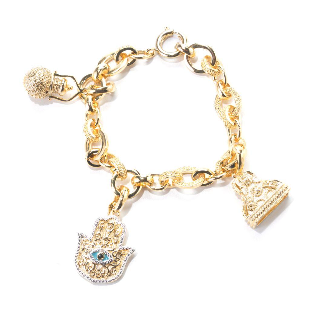 "138-259 - Jaipur Bazaar 18K Gold Embraced™ 7.25"" Diamond Rolo Link Charm Bracelet"