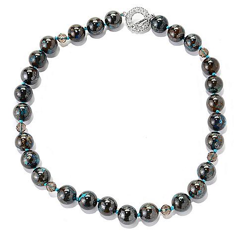 138-268 - Dallas Prince Sterling Silver 20'' Chrysocolla & Smoky Quartz Bead Necklace