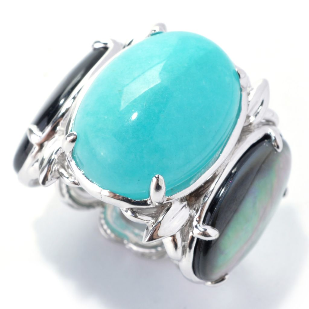 138-270 - Dallas Prince Sterling Silver 18 x 13mm Amazonite & Black Mother-of-Pearl Link Ring