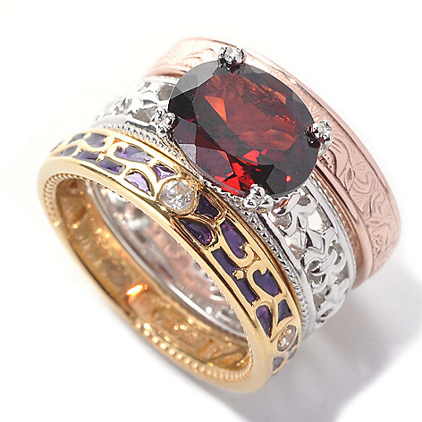 138-272 - Dallas Prince Designs Set of Three Sterling Silver Garnet & Topaz Stack Rings