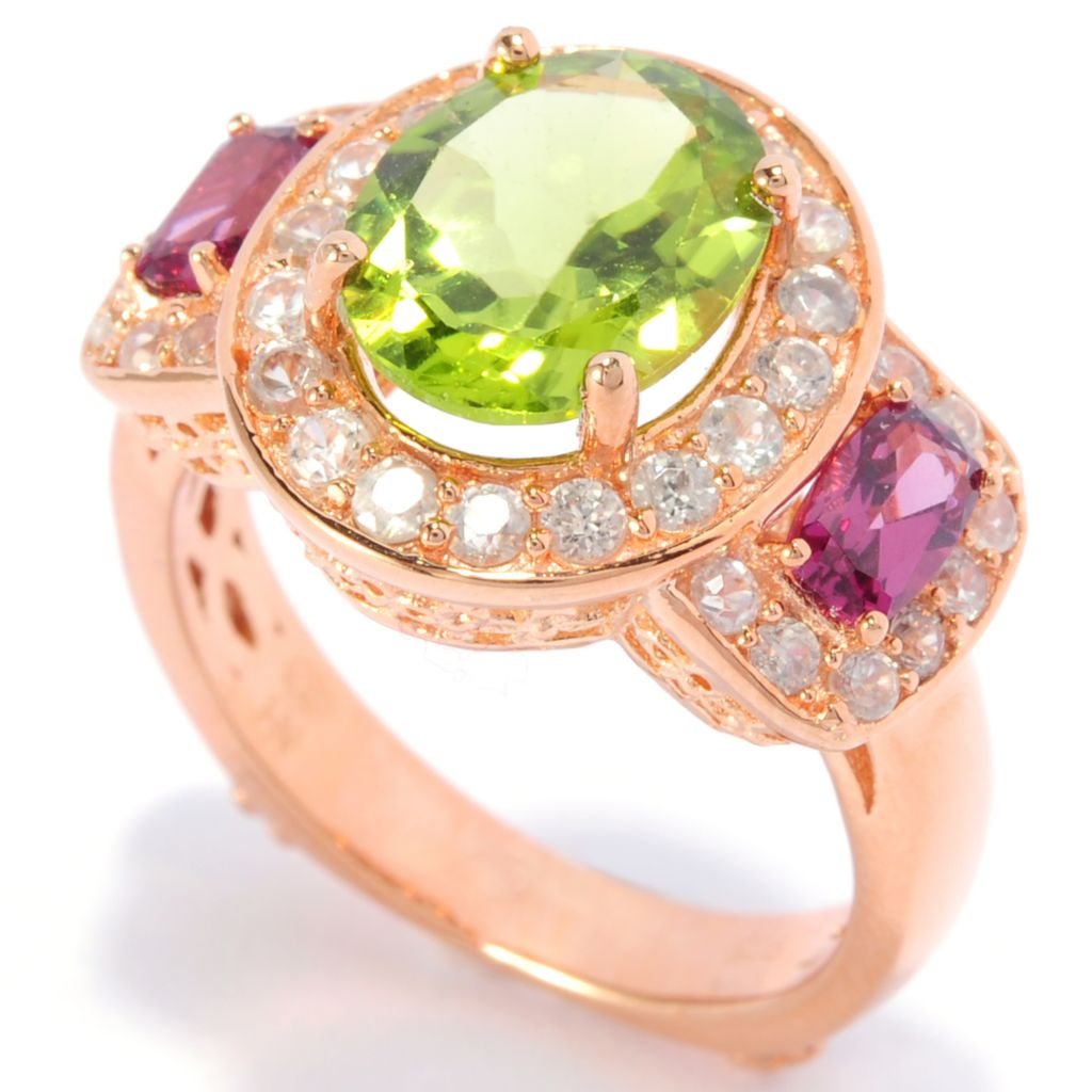 138-274 - Dallas Prince Designs 4.08ctw Peridot, Rhodolite & White Zircon Three-Stone Ring