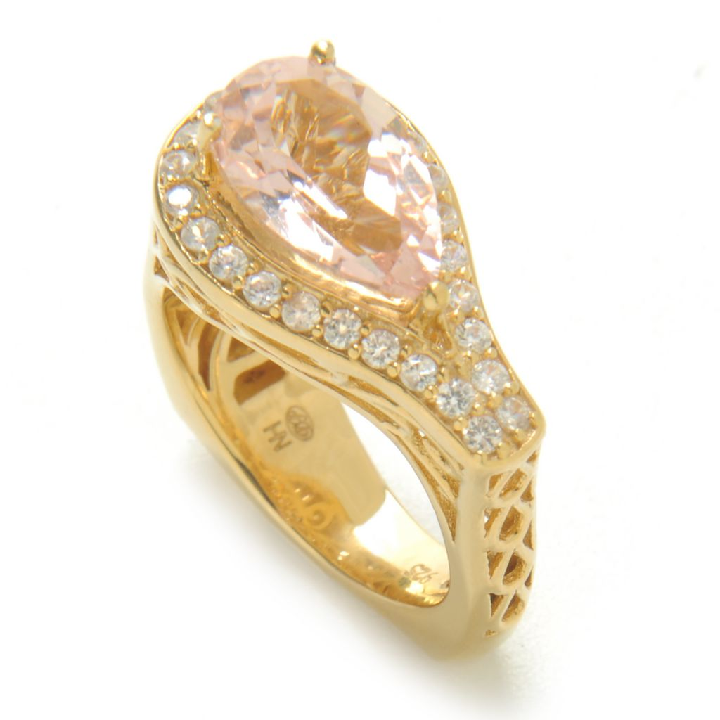 138-276 - Dallas Prince Designs 3.26ctw Pear Shaped Morganite & White Zircon Halo Filigree Ring