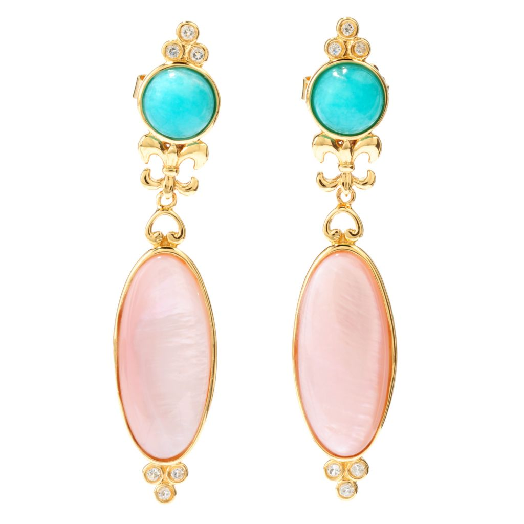 "138-277 - Dallas Prince Designs 24 x 10mm Pink Mother-of-Pearl & Multi Gem 2.25"" Drop Earrings"