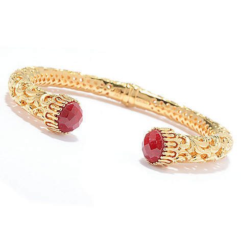 138-278 - Jaipur Jewelry Bazaar™ 18K Gold Embraced™ 6.5'' Gemstone & Filigree Hinged Bangle Bracele