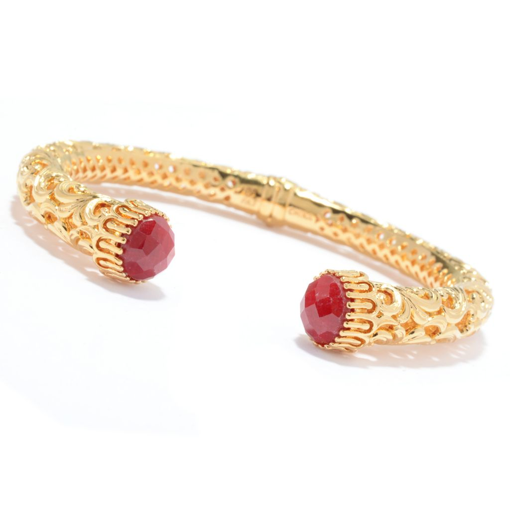 "138-278 - Jaipur Bazaar 6.5"" 18K Gold Embraced™ 3.04ctw Amethyst Filigree Hinged Bangle Bracelet"