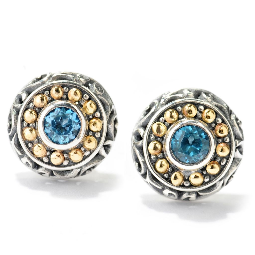 138-281 - Artisan Silver by Samuel B. Two-tone Gemstone Bead & Swirl Textured Stud Earrings