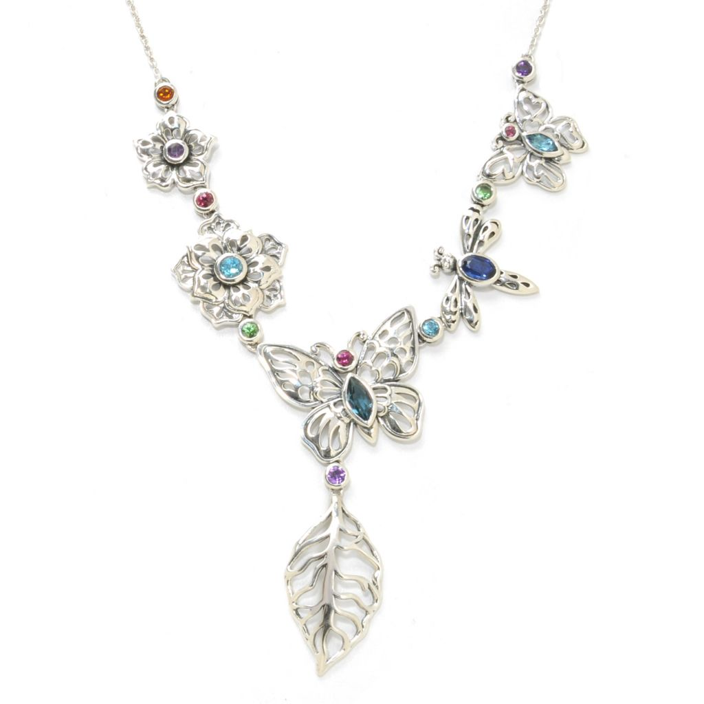 "138-285 - Artisan Silver by Samuel B. 18"" 3.08ctw Multi Gemstone Butterfly Necklace"