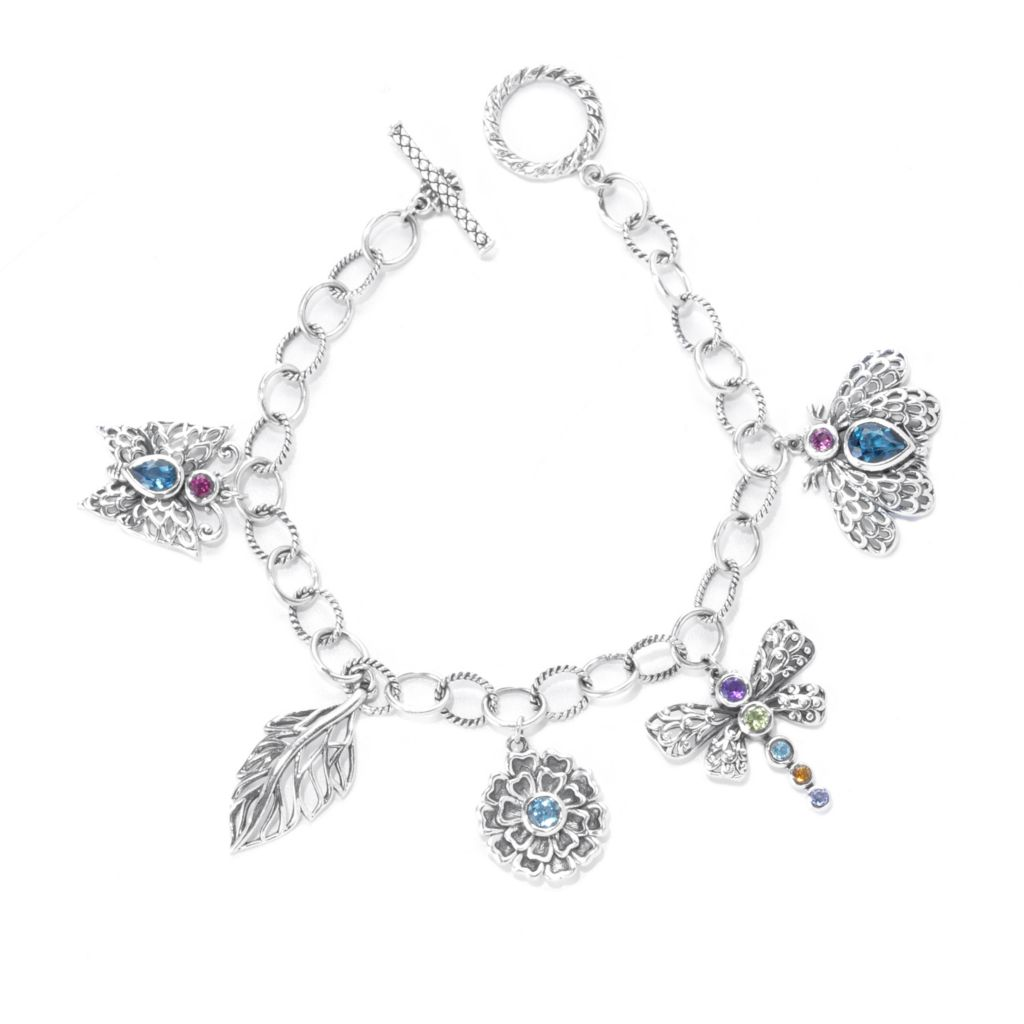 "138-286 - Artisan Silver by Samuel B. 8"" 2.42ctw Multi Gemstone Butterfly Toggle Bracelet"