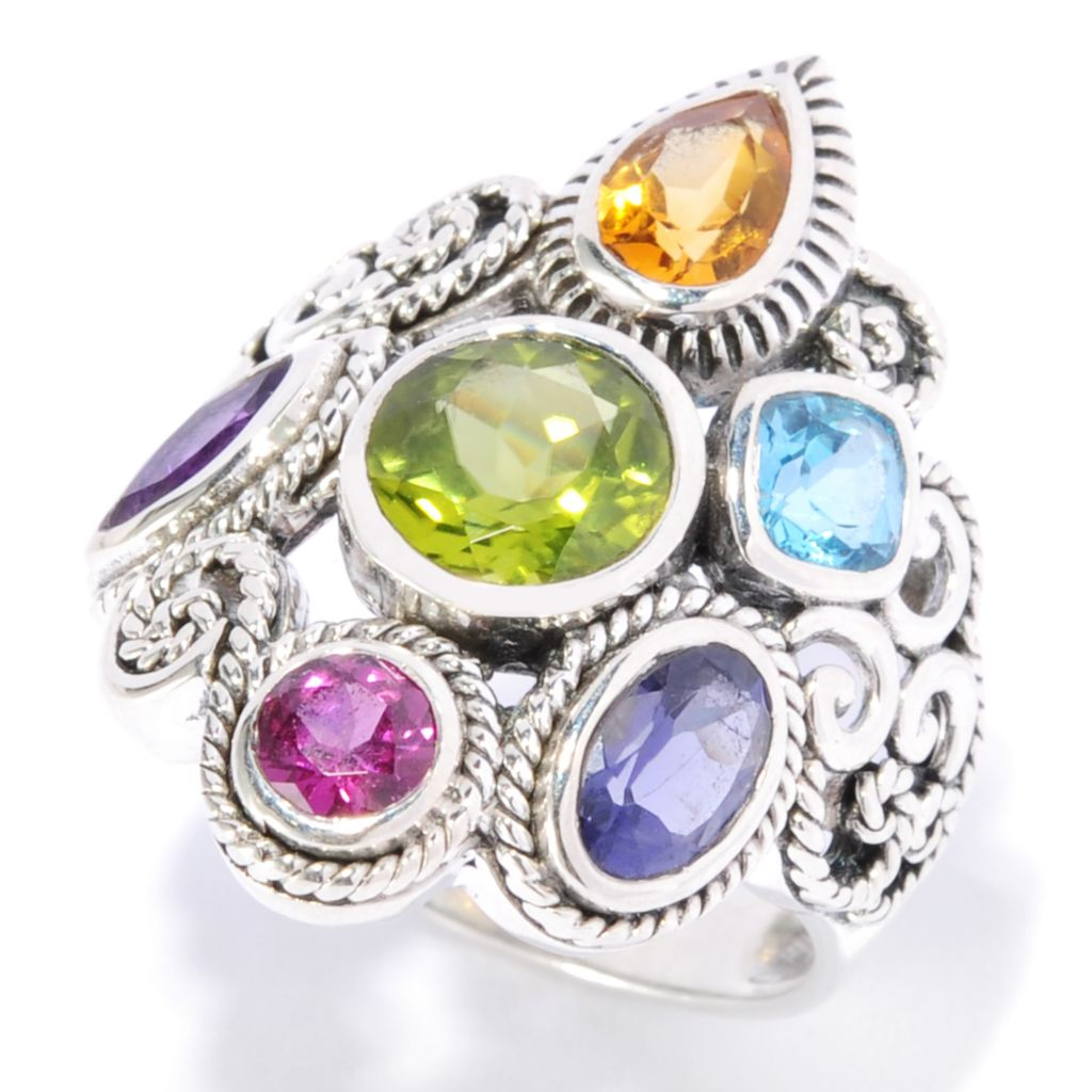 138-289 - Artisan Silver by Samuel B. 2.97ctw Multi Shaped Gemstone Textured Ring
