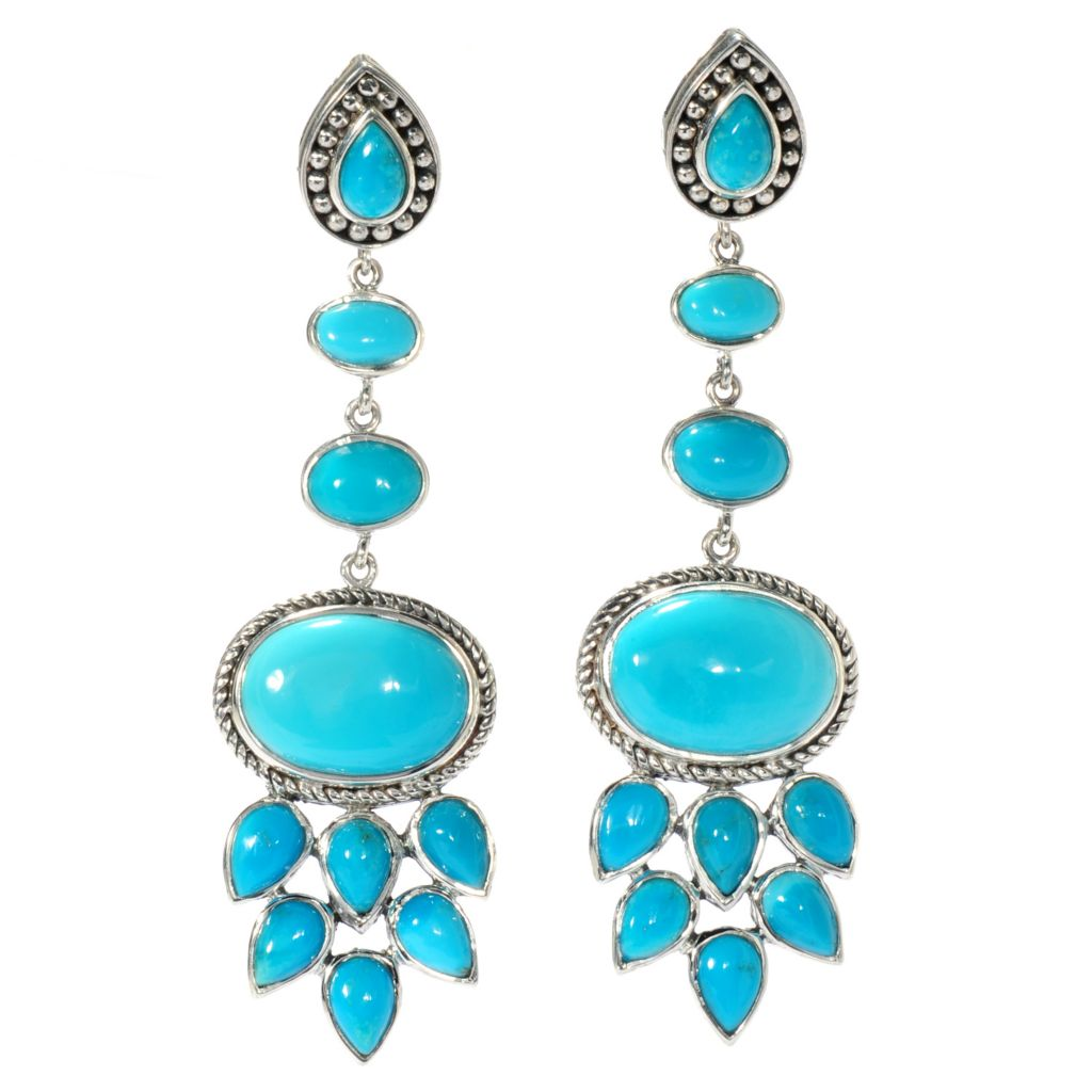 "138-290 - Artisan Silver by Samuel B. 2.25"" Sleeping Beauty Turquoise Textured Drop Earrings"