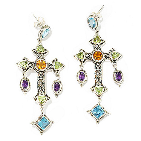 138-291 - Artisan Silver by Samuel B. 2.25'' Multi Shape Gemstone Cross Drop Earrings
