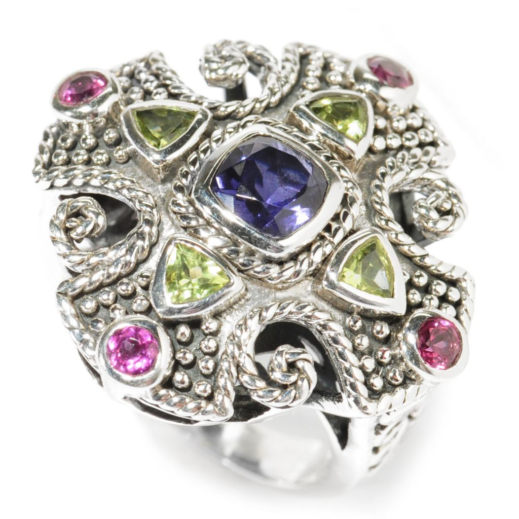 138-293 - Artisan Silver by Samuel B. 1.38ctw Multi Gemstone Textured Balinese-Style Cross Ring
