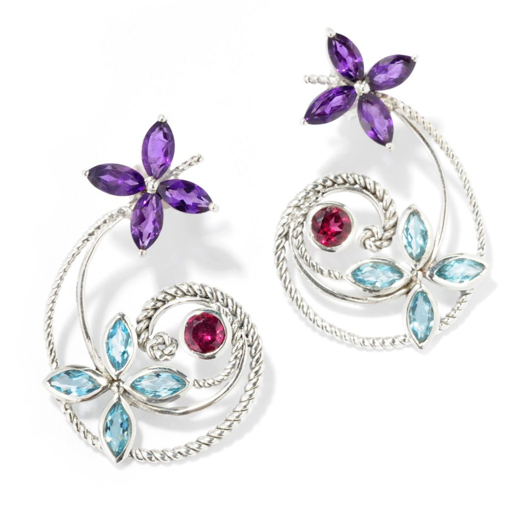 "138-294 - Artisan Silver by Samuel B. 1.25"" 1.96ctw Multi Gemstone Flower Swirl Earrings"