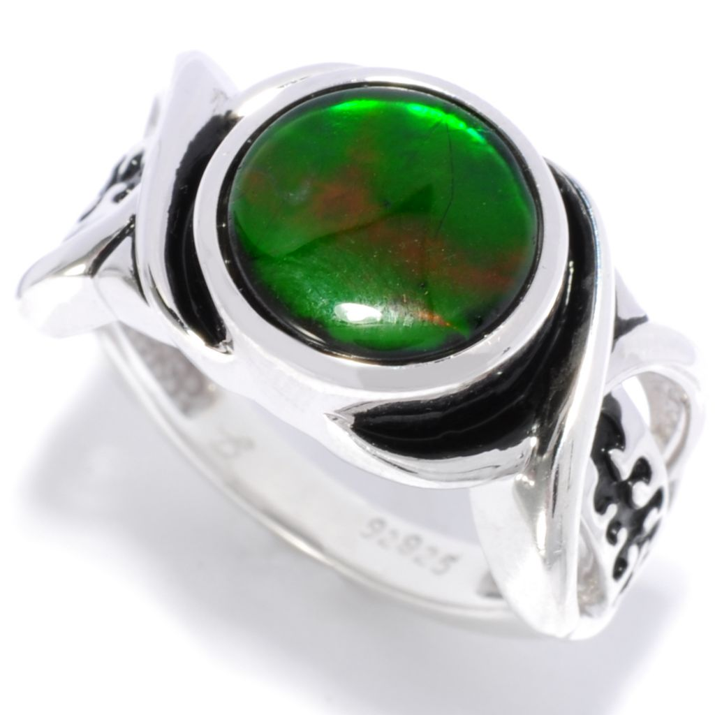 138-295 - Artisan Silver by Samuel B 10mm Ammolite Crisscross Shank Abstract Ring