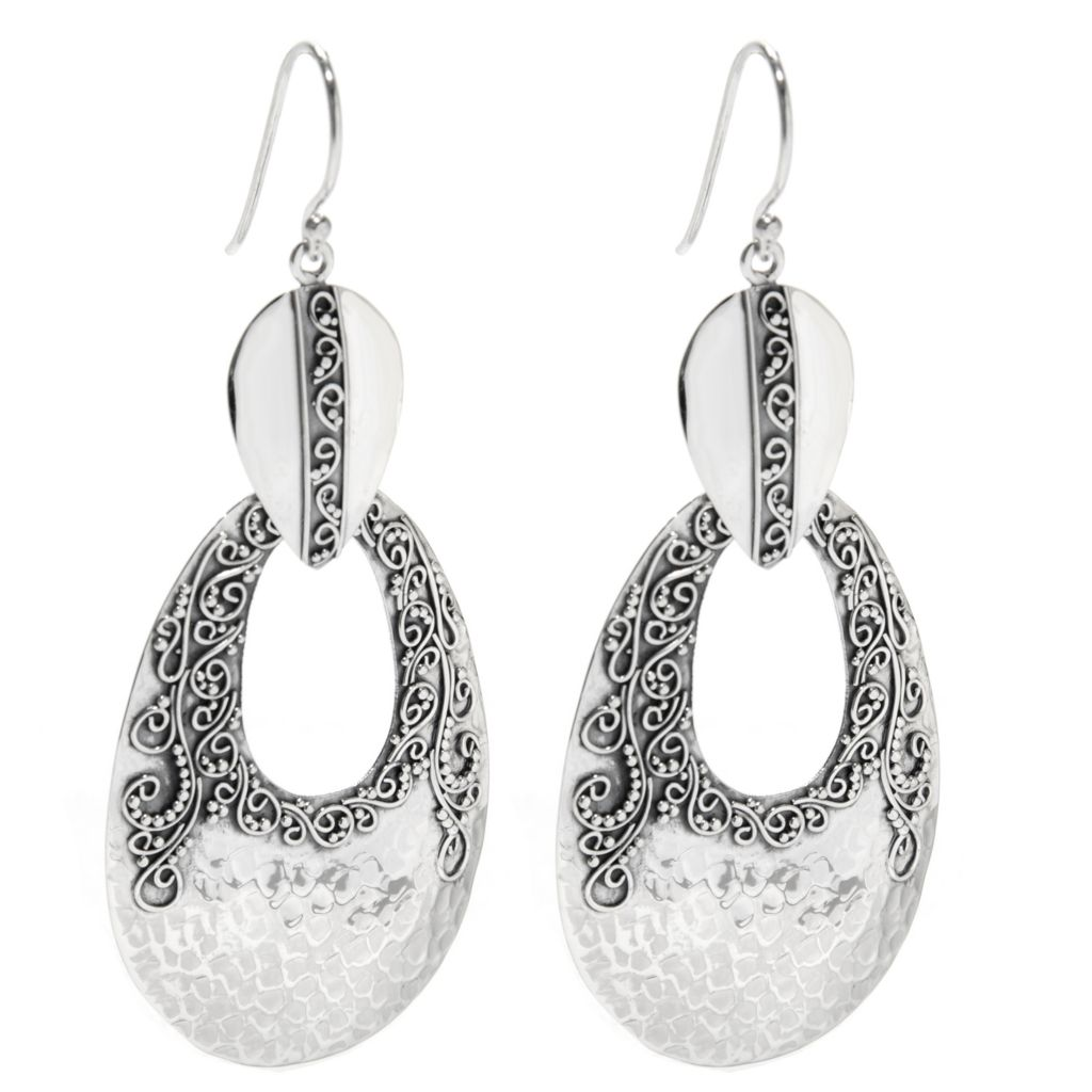 "138-297 - Artisan Silver by Samuel B. 2.75"" Hammered & Scrolled Earrings, 9.9 grams"