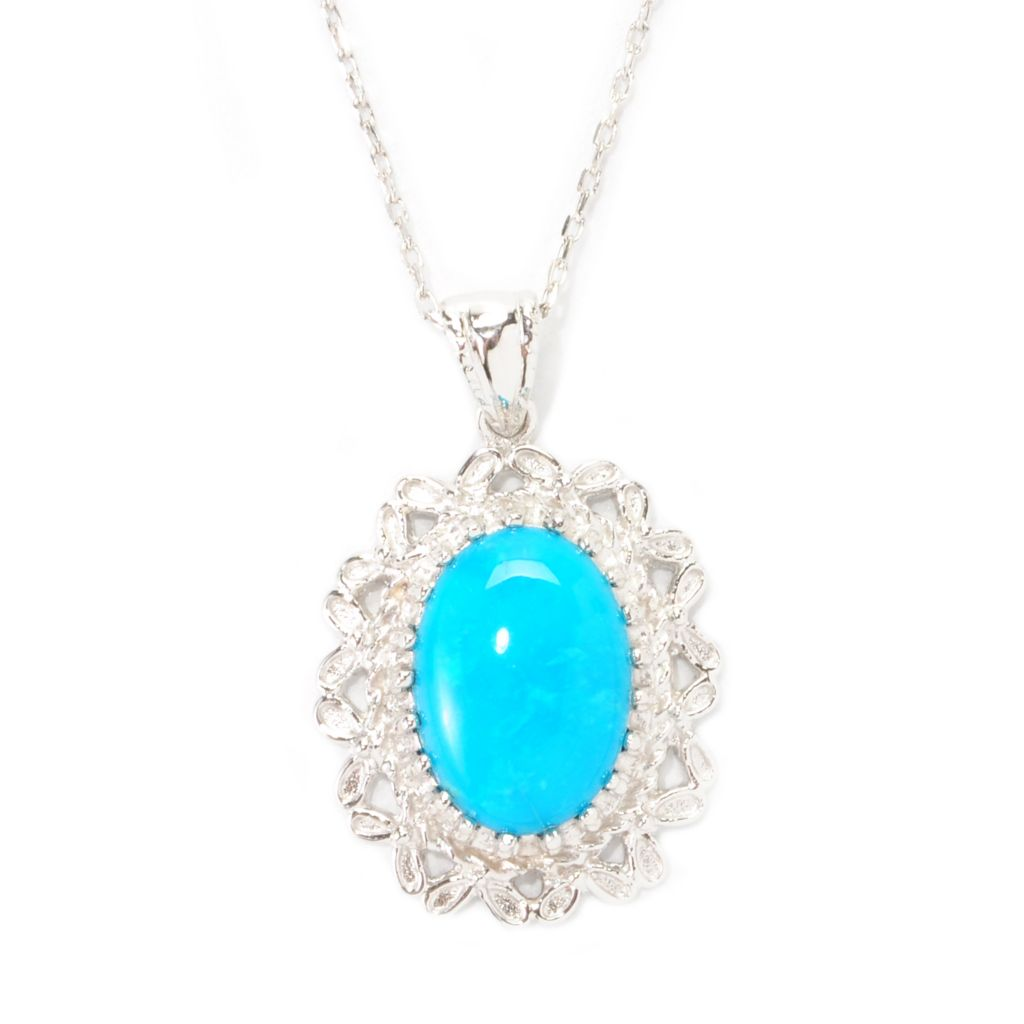138-299 - Gem Insider Sterling Silver 14 x 10mm Sleeping Beauty Turquoise Filigree Pendant