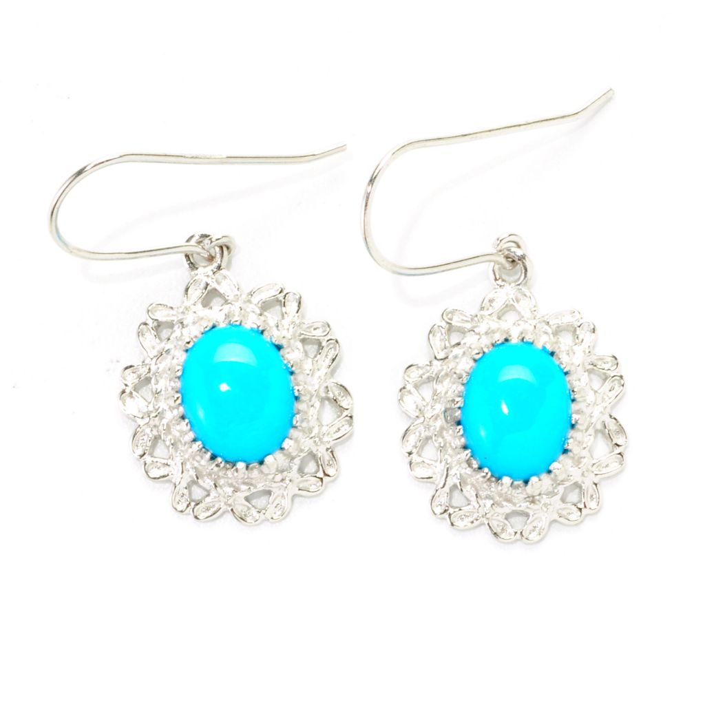 "138-300 - Gem Insider Sterling Silver 1.75"" 10 x 8mm Sleeping Beauty Turquoise Earrings"