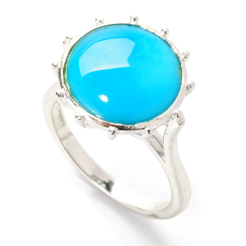 138-301 - Gem Insider Sterling Silver 12mm Round Sleeping Beauty Turquoise Ring