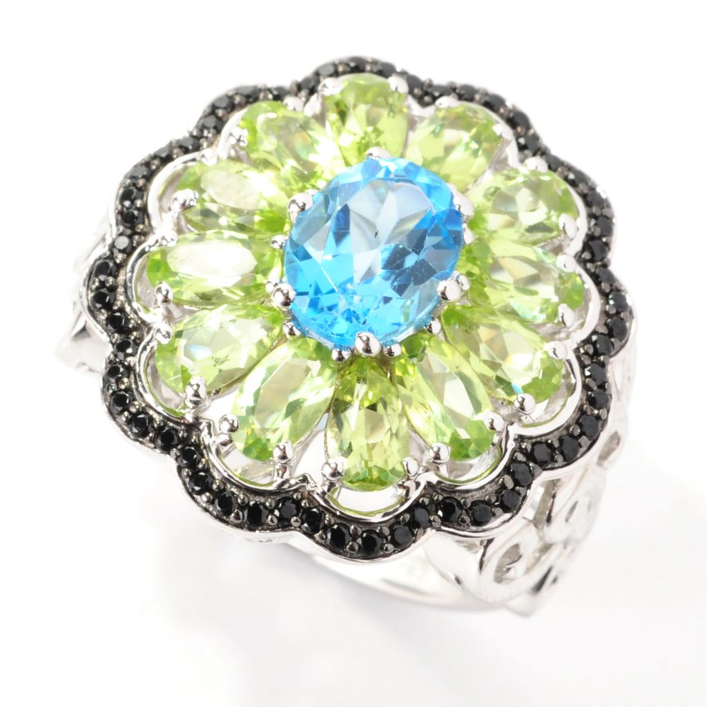138-302 - Gem Insider Sterling Silver 3.85ctw Peridot, Swiss Blue Topaz & Spinel Flower Ring
