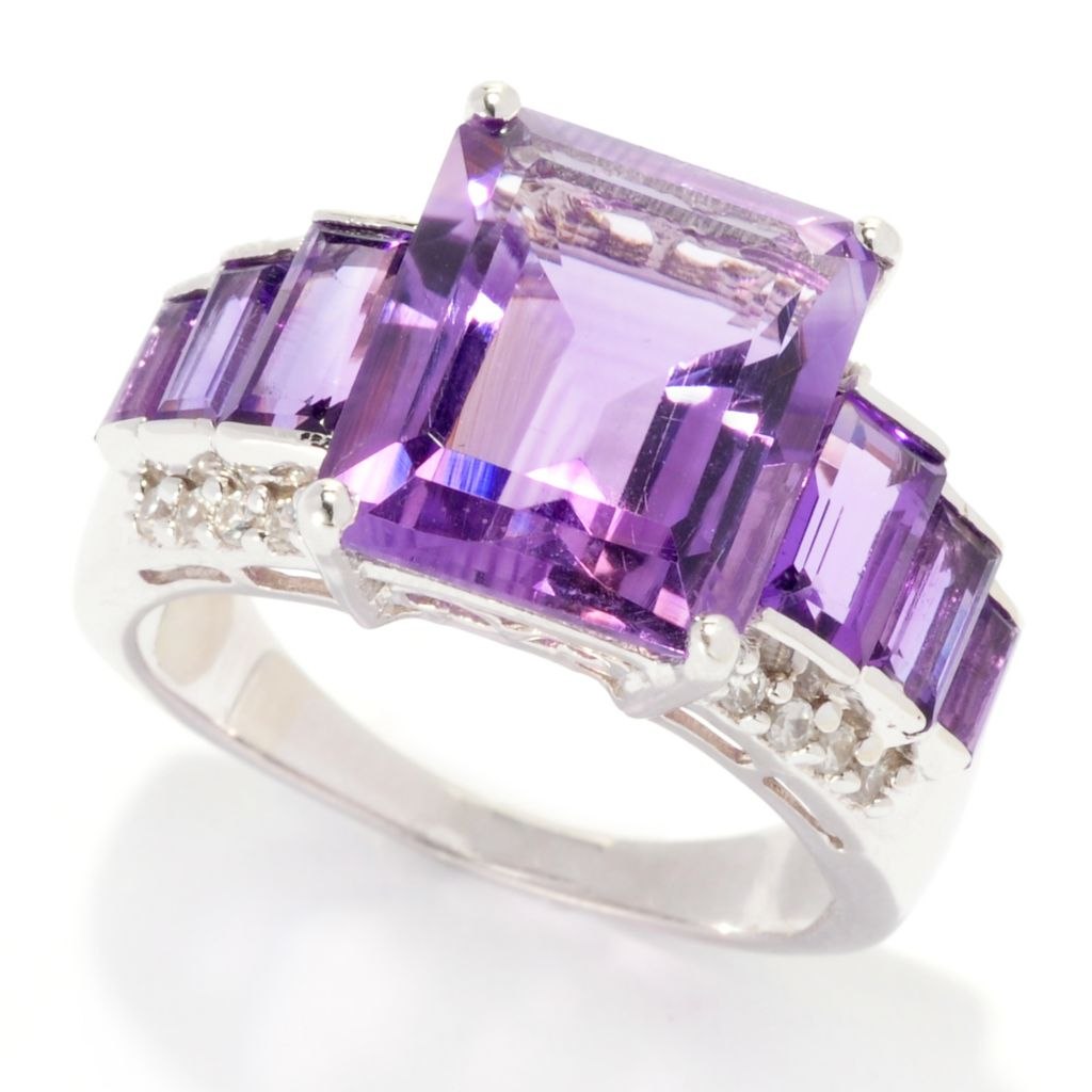 138-303 - Gem Insider Sterling Silver 5.26ctw Amethyst & White Zircon Staggered Ring