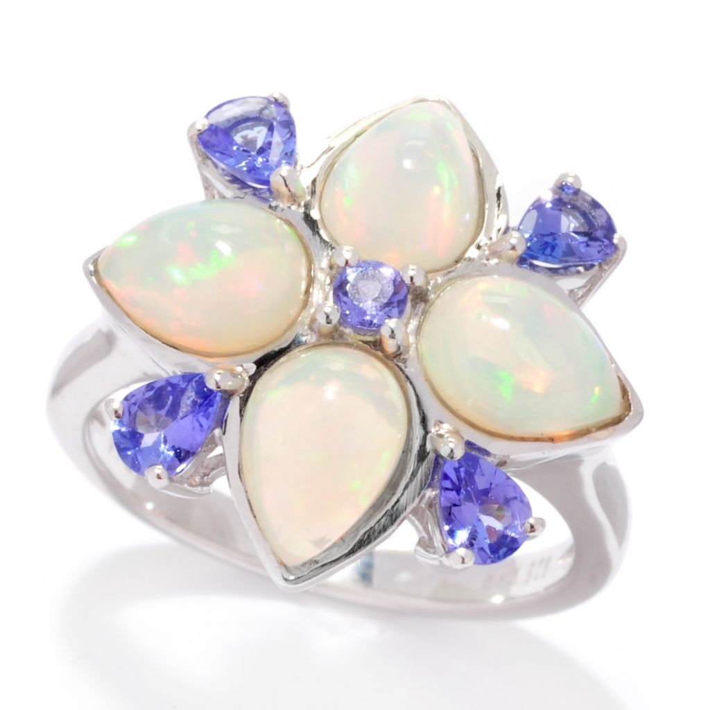 138-304 - Gem Insider Sterling Silver Ethiopian Opal & Tanzanite Flower Ring