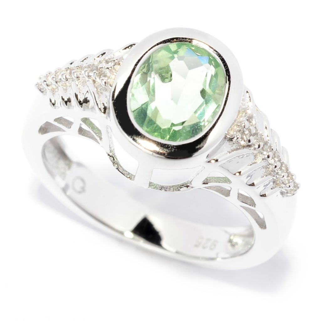 138-306 - Gem Insider Sterling Silver 2.23ctw Oval Green Fluorite & White Topaz Ring