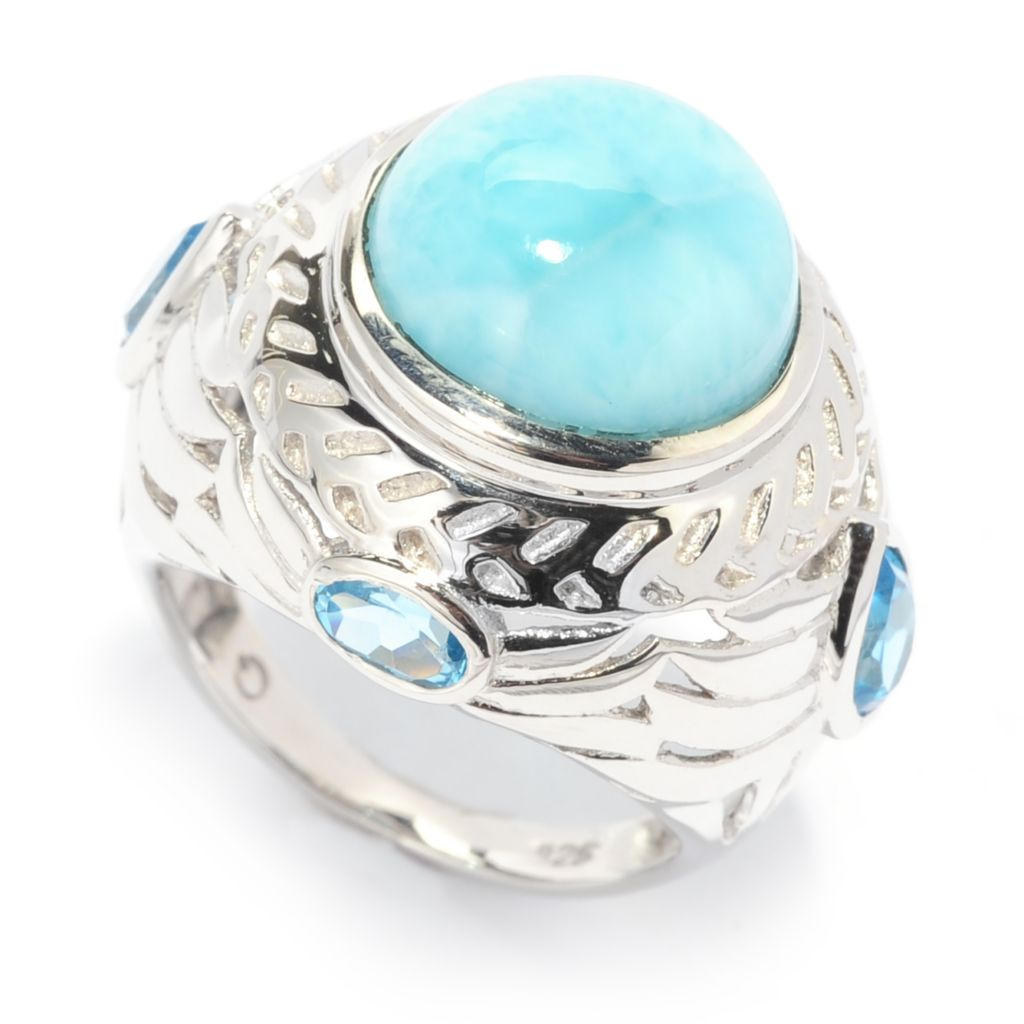 138-308 - Gem Insider Sterling Silver 12mm Larimar & Swiss Blue Topaz Textured Dome Ring