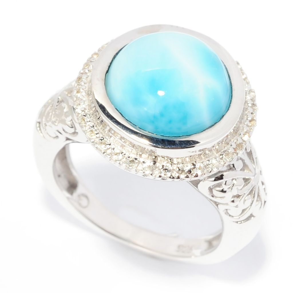 138-309 - Gem Insider Sterling Silver 11mm Larimar & White Topaz Halo Ring