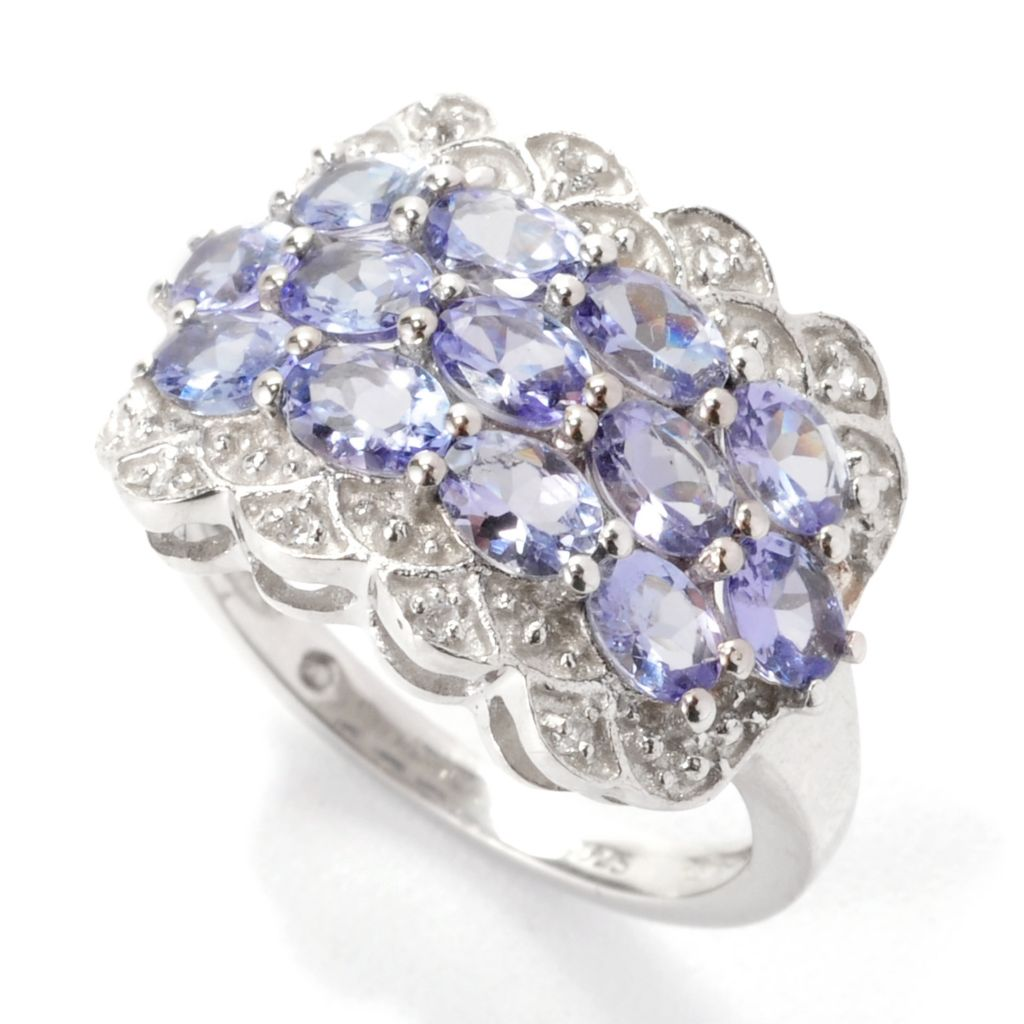 138-310 - Gem Insider Sterling Silver 1.86ctw Tanzanite & White Topaz Three-Row Ring