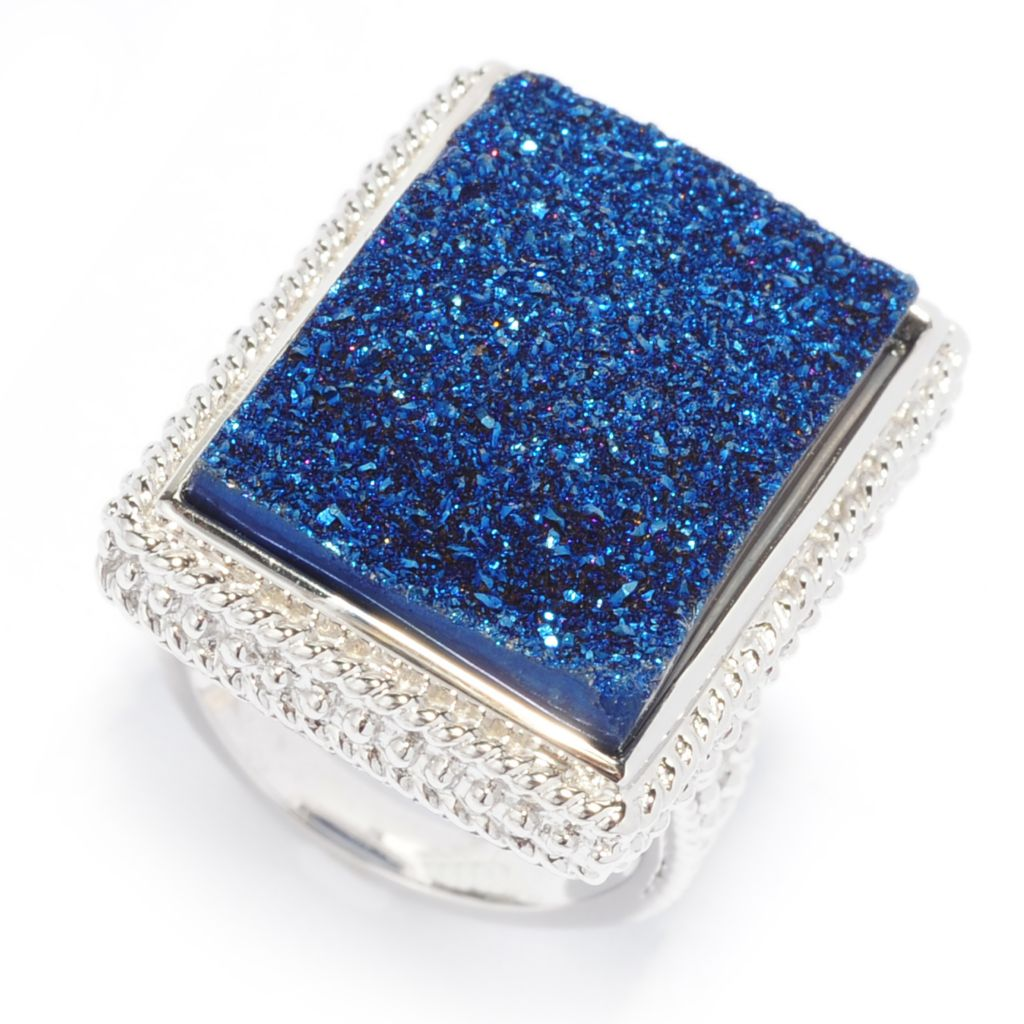 138-311 - Gem Insider Sterling Silver 22 x 15mm Rectangular Drusy Beadwork Ring