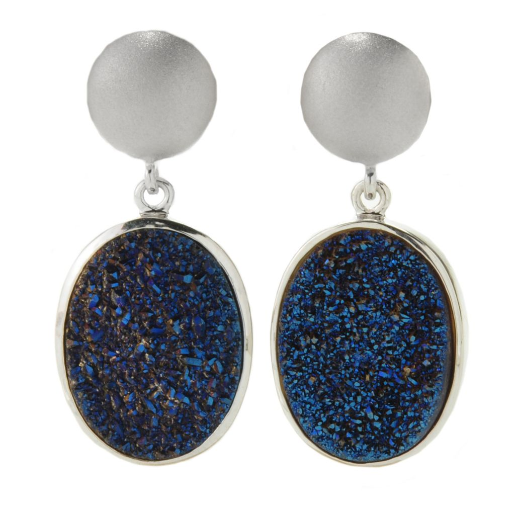 "138-312 - Gem Insider Sterling Silver 1.25"" 20 x 15mm Oval Drusy Drop Earrings"