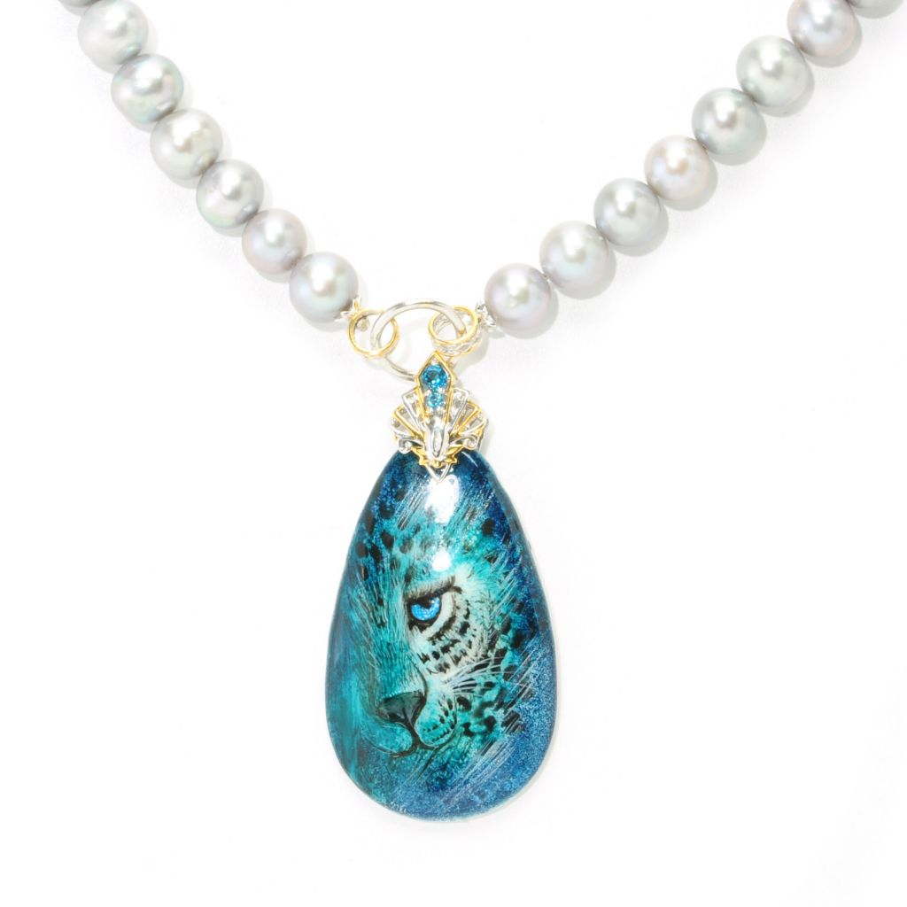 138-324 - Gems en Vogue II Hand-Painted Mother-of-Pearl & Cultured Pearl Toggle Necklace