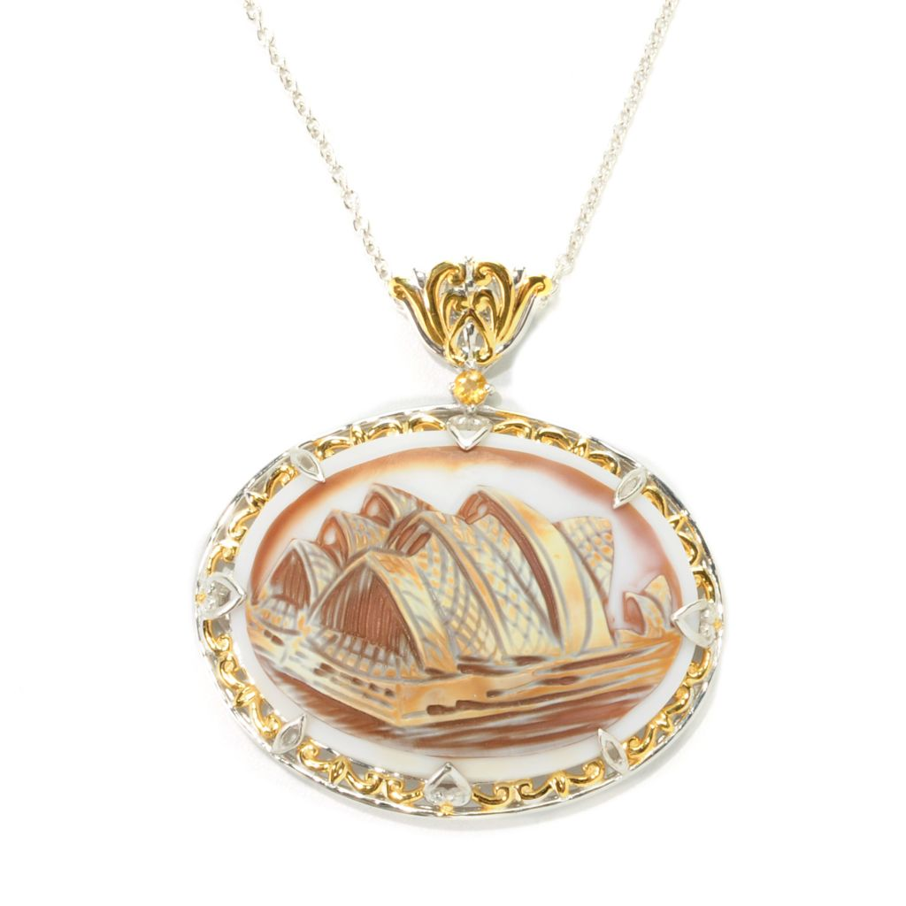 138-325 - Gems en Vogue II 40 x 30mm Carved Tiger Shell Sydney Opera House Cameo & Gem Pendant