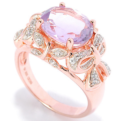 138-326 - NYC II 3.53ctw Oval Pink Amethyst & White Zircon Bow Ring