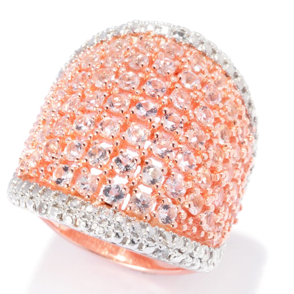 138-329 - NYC II 2.12ctw Morganite & White Zircon Wide Band Ring