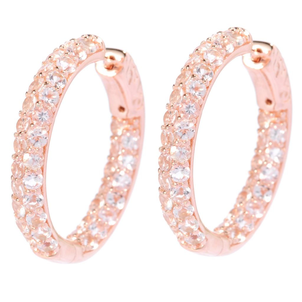 "138-330 - NYC II 4.74ctw 1"" Morganite Double Row Inside-Out Hoop Earrings"