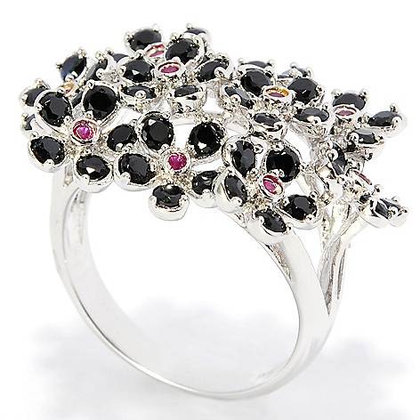 138-333 - NYC II™ Black Spinel & Ruby Flower Cluster Ring