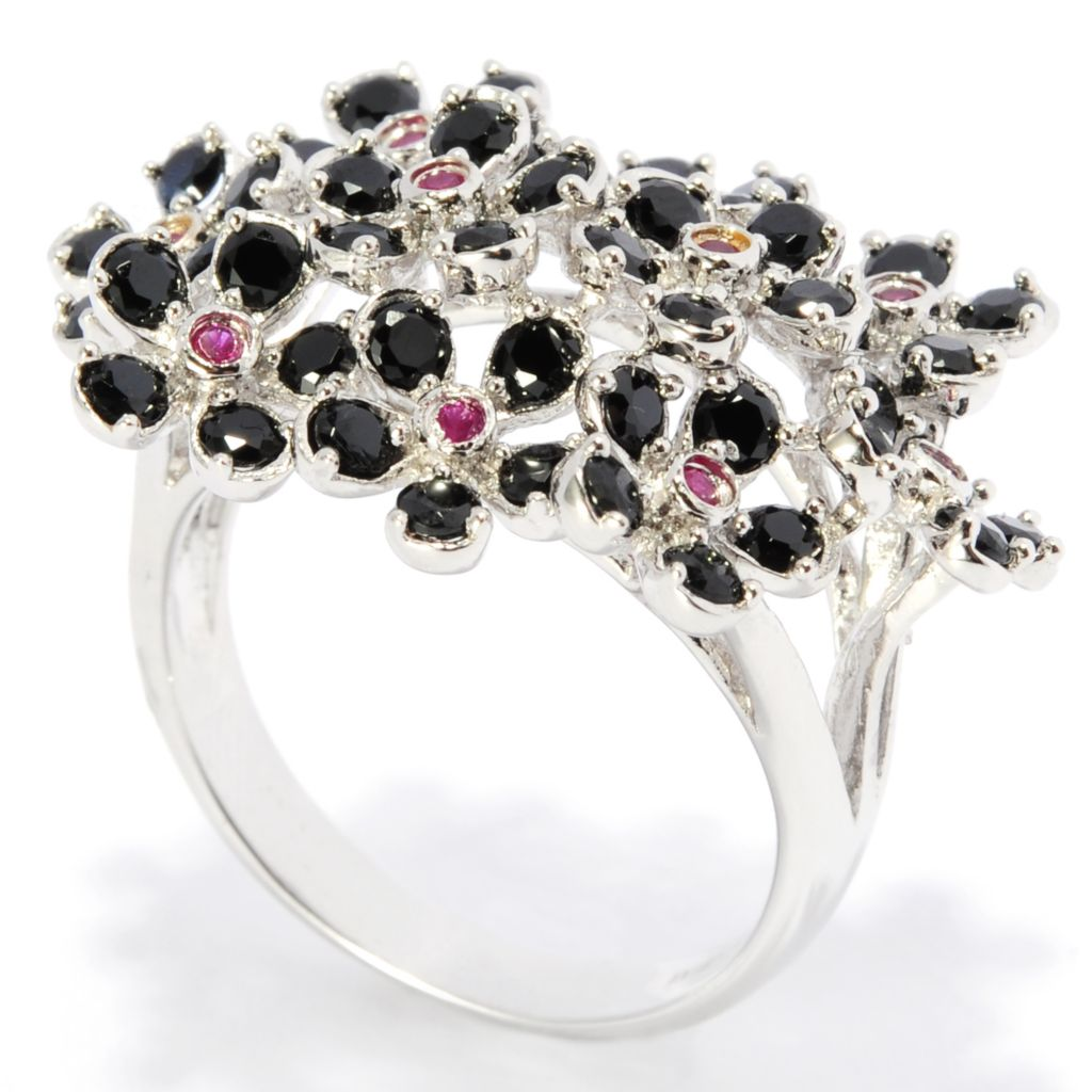 138-333 - NYC II Black Spinel & Ruby Flower Cluster Ring