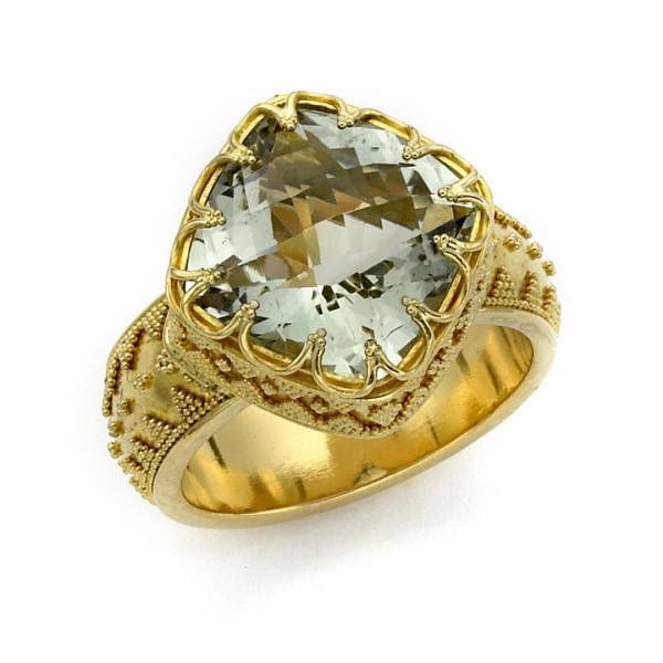 138-339 - SoHo Boutique 22K Gold 7.25ctw Cushion Cut Prasiolite Ring - Size 7