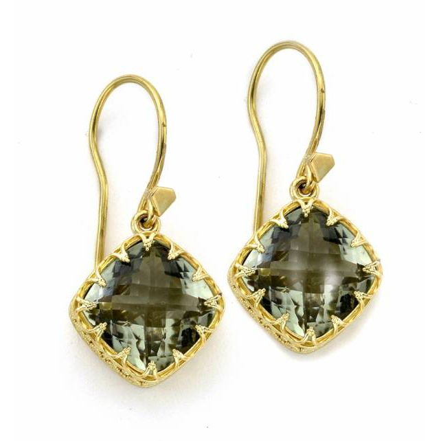 138-341 - SoHo Boutique 22K Gold 13.01ctw Cushion Cut Prasiolite Earrings